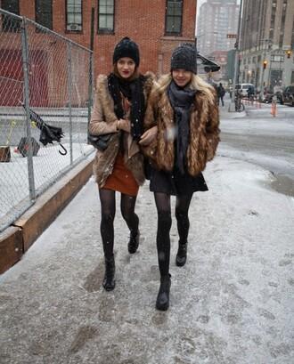fur coat winter coat winter outfits new york city beanie hat