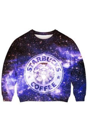 Amazon.com: Romwe Women's Starbuks Coffee Patterns Print In Galaxy Sky Polyester Sweatshirt: Clothing