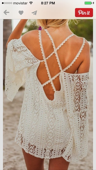 crochet white dress bohemian dress crochet dress flowy dress white beach dress dress