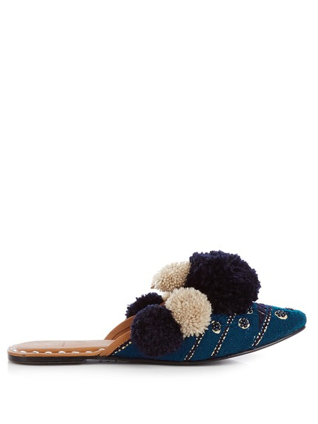 Figue embellished leather navy shoes