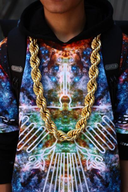sweater sweatshirt gold gold chain chain galaxy print streetstyle dope urban streetwear streetwear streetwear swag jewels