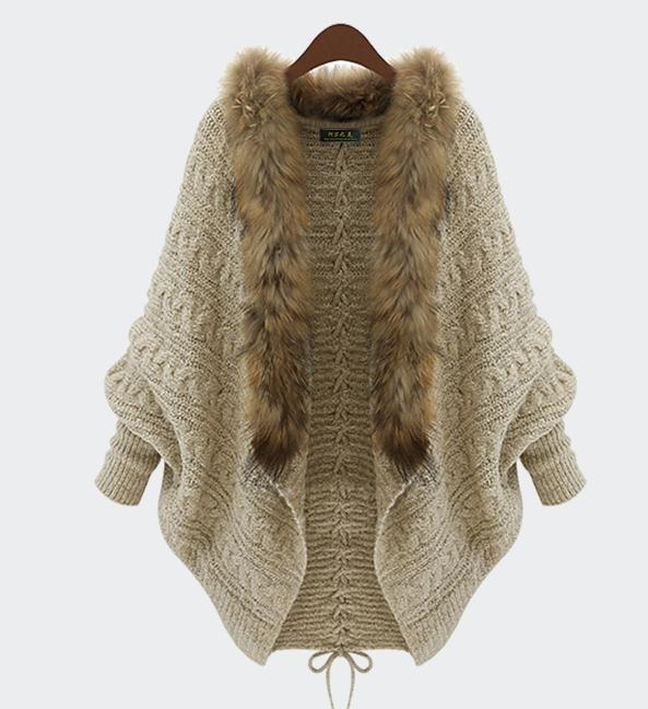 Warm fur cardigan sweater coat