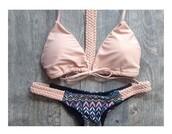 swimwear,print,bikini,nude,braded back,tribal pattern,blush pink