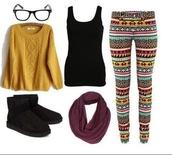 pants,sweater,shoes,top,scarf,sunglasses,tank top,yoga pants,leggings,aztec leggings,multicolor
