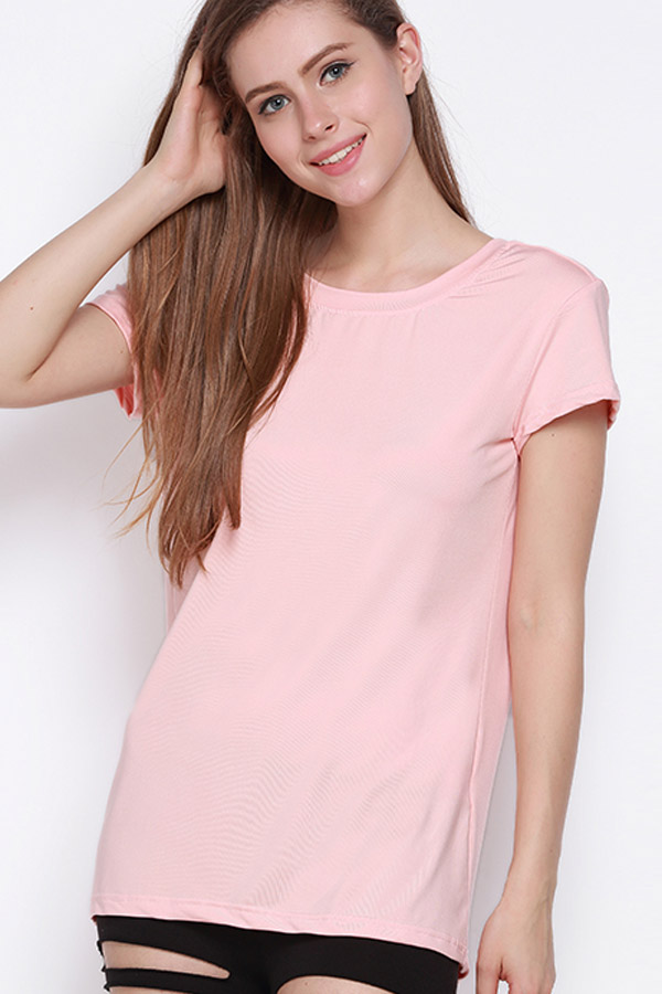 Pink V Back Short Sleeve Sexy Tee Top