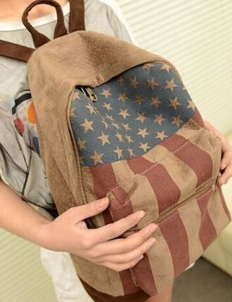 bag backpack vintage back to school flag us flag