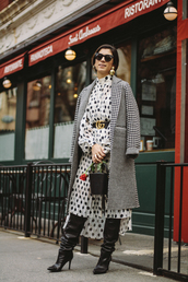 coat,houndstooth,printed coat,dress,midi dress,polka dots,belt,sunglasses,gucci,boots,black boots