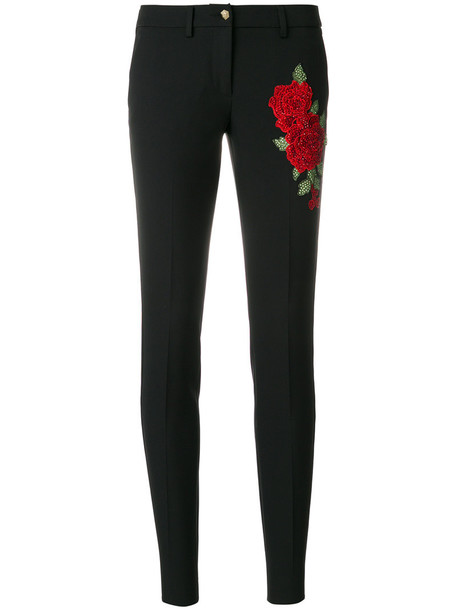 PHILIPP PLEIN rose women spandex embellished black pants