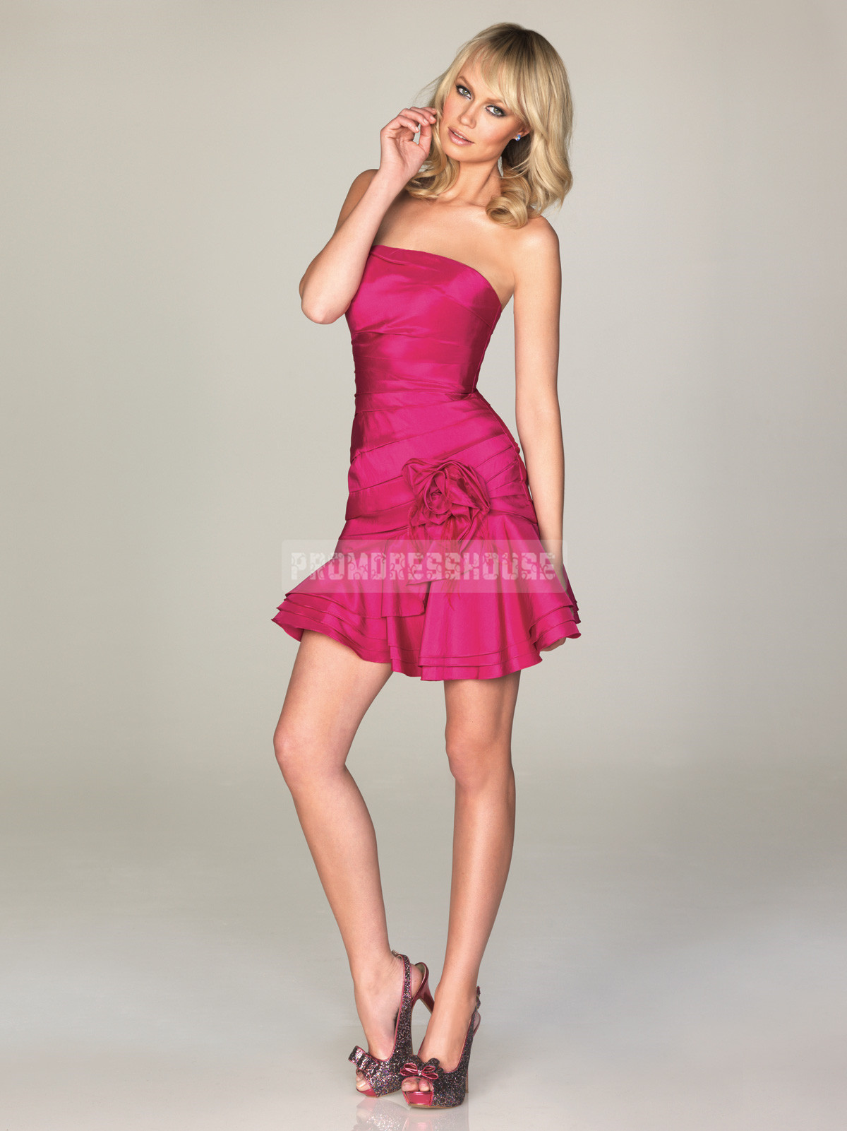 Ruching Chic Strapless Zipper Short Length Taffeta A-line Prom Dress - Promdresshouse.com