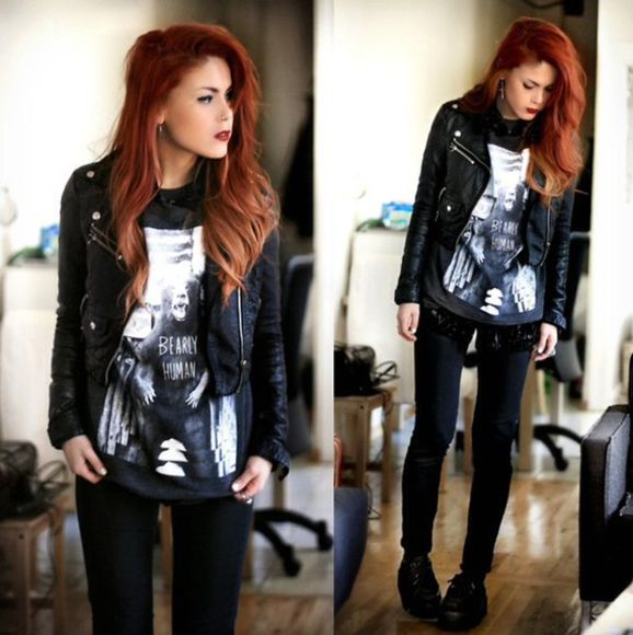 jacket black leather black perfecto jeans blouse t-shirt band t-shirt rock shirt
