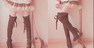 shoes kawaii boots over the knee boots brown little heel kawaii fashion bag