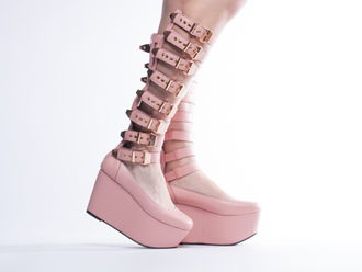 shoes platform shoes kawaii pastel pastel goth fairy kei pastel pink flatforms buckle boots