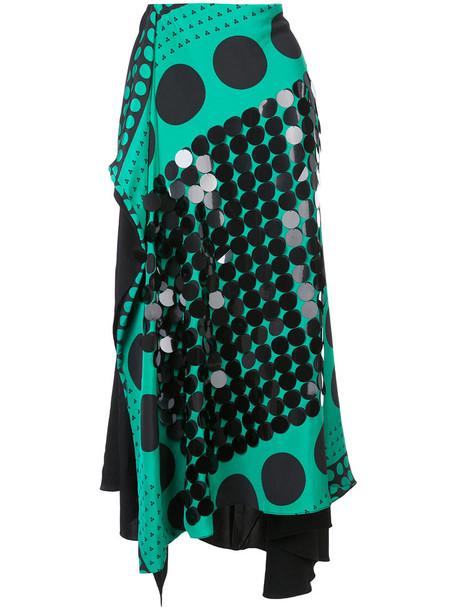 skirt patterned skirt women draped silk green