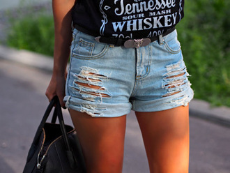 shorts denim bag belt ripped shorts