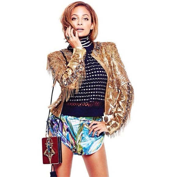 nicole richie nicole richie style shorts top sweater jumper turtleneck jacket hologram sports short bag crystal high fashion editorial magazine mesh fishnet