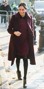 dress,burgundy,fall outfits,monochrome,monochrome outfit,meghan markle,celebrity