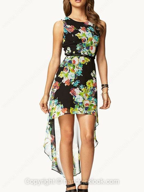 Black Scoop Sleeveless Floral Print High Low Dress - HandpickLook.com