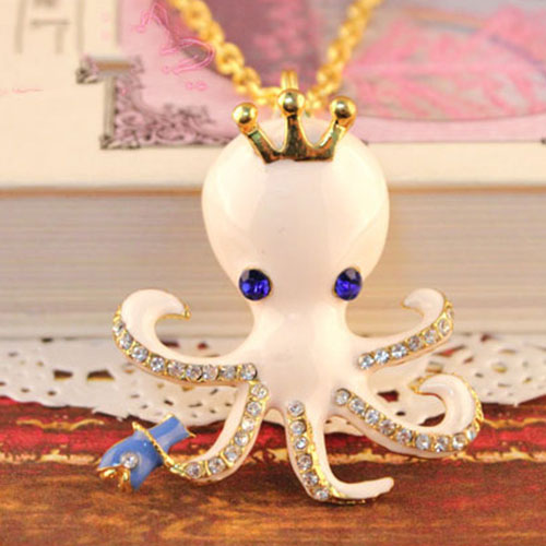 Crown Octopus Pendant Rhinestones Gold Tone Chain Necklace [grxjy5100270] on Luulla