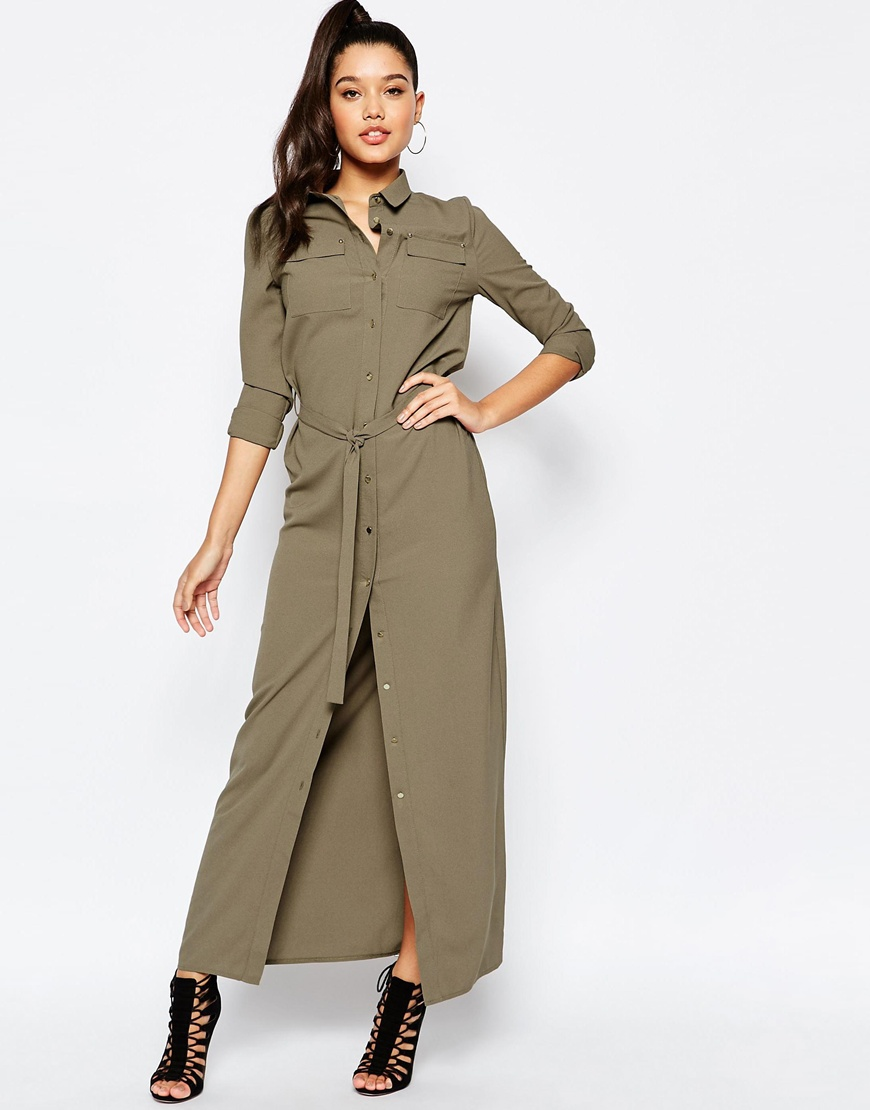 Missguided Belted Maxi Shirt Dress At Asos Com