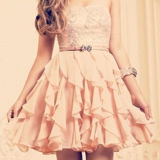 dress gorgeous party dress party celebration pink ruffles cute glitter adorable strapless strapless dress rosé bow elegant