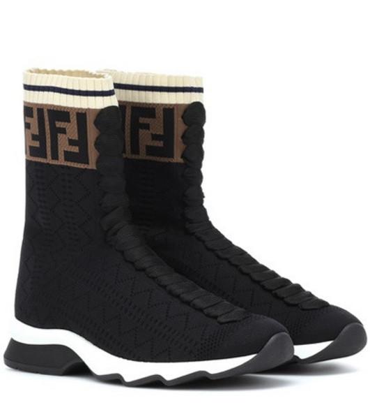 Fendi High-top stretch knit sneakers in black