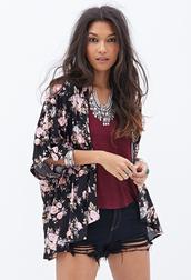 top,kimono,burgundy,floral,necklace,shorts,t-shirt,jewels,jacket,cardigan