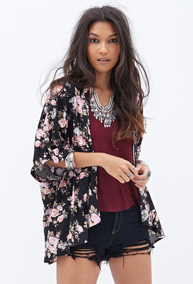 shorts t-shirt jacket floral top bordeaux kimono burgundy necklace jewels