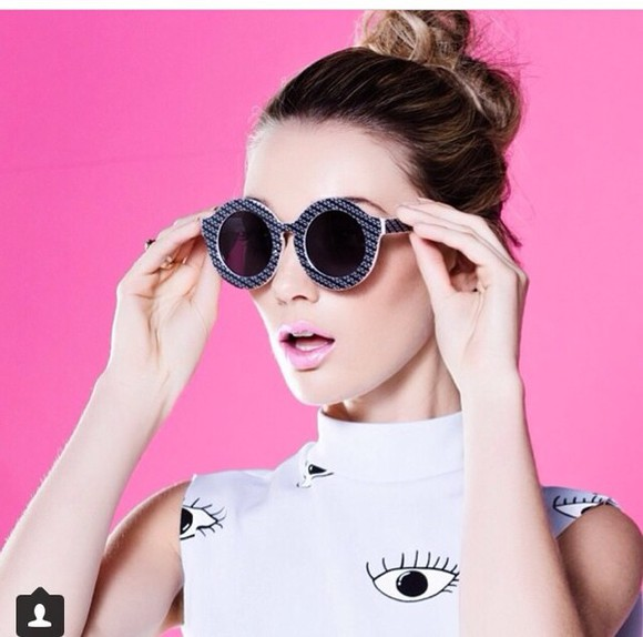 round sunglasses sunglasses black vintage retro high fashion sunglasses letter print blouse