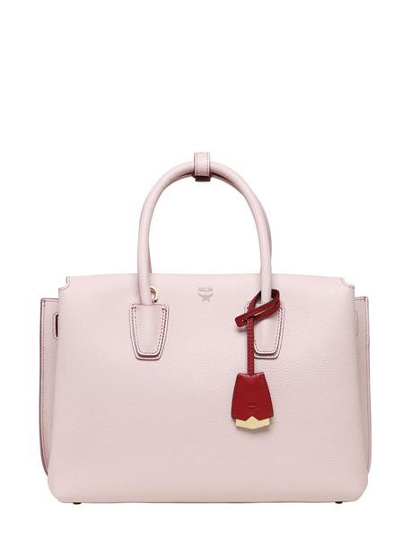 MCM bag tote bag leather tote bag leather pink