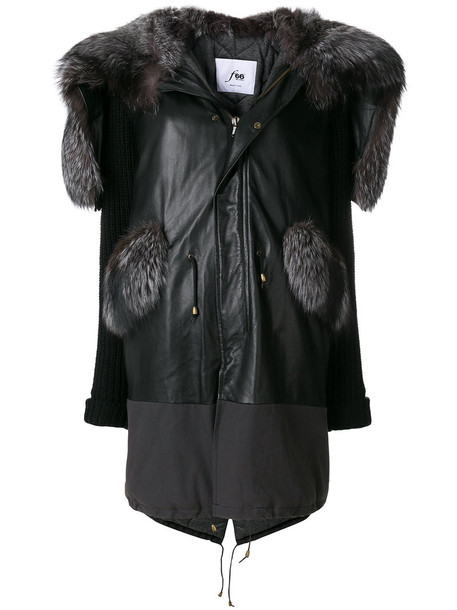Furs66 parka fur fox women leather cotton black wool coat