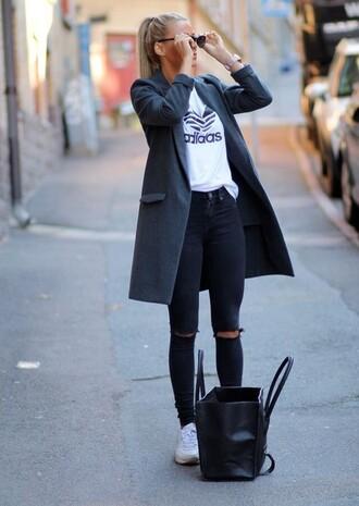coat long coat jacket grey adidas black jeans stylish grey coat ripped jeans black bag