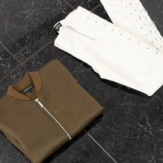 jacket maniere de voir bomber jacket khaki mesh embroidered utility 36683