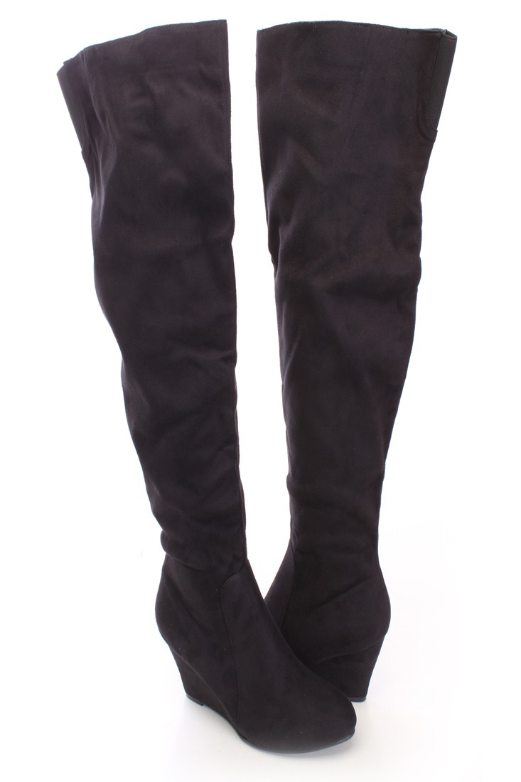 Black Thigh High Wedge Boots Faux Suede