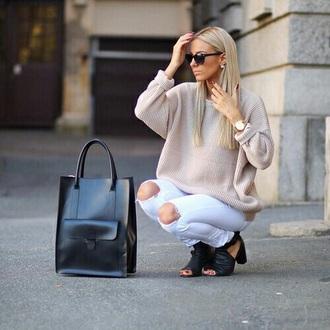 bag shopper leather front pocket black