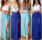 skirt,blue skirt,top,maxi skirt,side slit,long skirt,crop tops,short top,shirs,clothes,high slit maxi skirt,blue maxi dress,blue dress,skirts and tops,dress,aztec,homecoming dress,prom dress,trendy,v neck,two-piece,blouse,chiffon,fancy,tumblr outfit,cyan skirt,shoes,tank top,shirt,sheer skirt