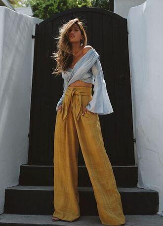 pants wide-leg pants summer outfits summer pants rocky barnes blogger top instagram blouse orange