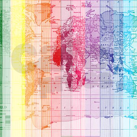 Rainbow World Map Shower Curtain by AfterMyArtbyCatherineHolcombe