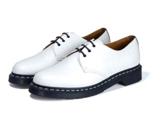 34fceba13f shoes, drmartens, low cut shoes, white, black, low - Wheretoget