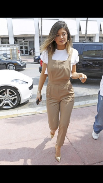 jumpsuit kylie jenner khaki overalls pockets crop tops pants