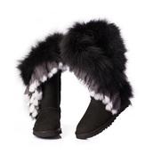 ugg fox fur,ugg fox fur tall,ugg fox fur black,ugg fox fur tall black