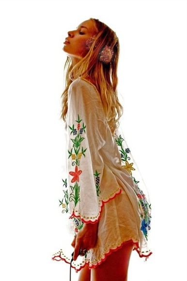dress coachella indie boho vintage white dress spring coachella fashion flower dress flower indie dress print