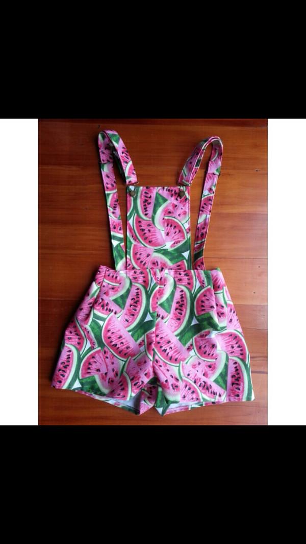 shorts dungarees watermelon print