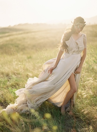 long dress prom dress greek goddess dress white dress cream prom dress short sleeve fashion flower crown beautiful flowy dress ivory dress summer dress faded formal pretty lovely jewels open back long