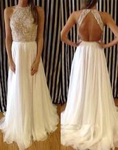 dress,beaded collar,prom dress,backless dress,evening dress,yoyobridal