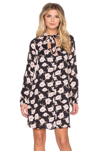dress shift dress long floral black