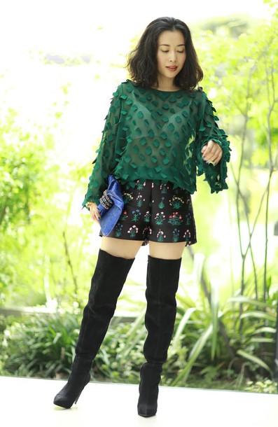 fetish tokyo blogger shorts bag shoes green black shorts knee high boots suede boots black boots short shorts long sleeves
