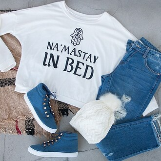 sweater graphic tee namaste sweatshirt top t-shirt lazy day netflix and chill monday cozy winter outfits winter sweater gojane