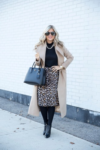 suburban faux-pas blogger coat skirt tights shoes sunglasses jewels bag animal print beige skirt handbag ankle boots