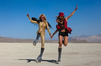 jumpsuit gold jumpsuit costume burning man burning man clothing burning man costume boots platform boots black boots shorts black shorts top red top sunglasses mirrored sunglasses festival music festival