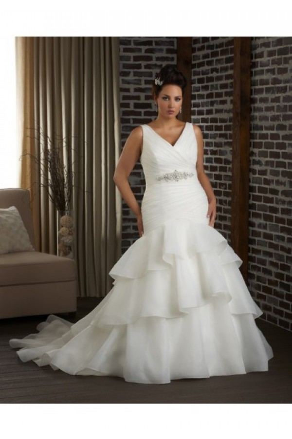 V Neck Chapel Train Organza Plus Size Wedding Dress Stores GPSWD023